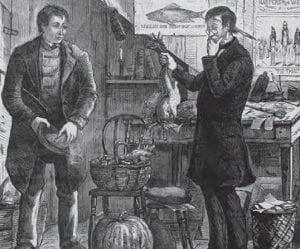 XVIII. yüzyılda ticareti anlatan bir görsel