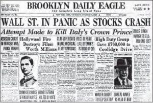 Dünya Ekonomik Buhranı ile ilgili gazete haberi (24 Ekim 1929)