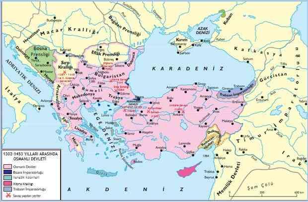 1302 - 1453 yılları arasında Osmanlı devleti