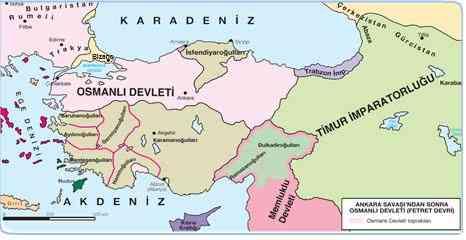 Ankara Savaşı Sonrasında Osmanlı Devleti'nin Sınırları